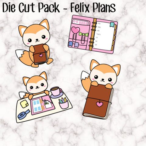 Die Cut Pack - Felix Plans - One of each - Each measures approx 6-7cm
