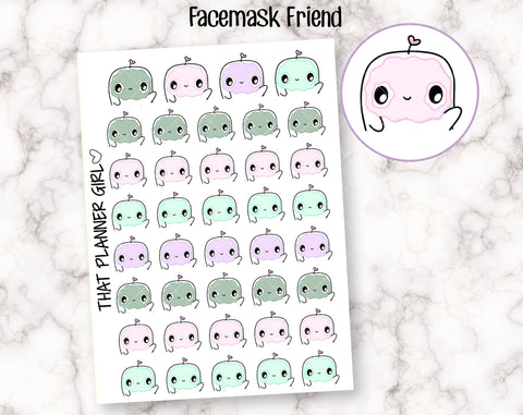 Friend uses a face mask - Cute hand drawn original character sticker! Face Mask, self care  - Planner Stickers - Hand Drawn