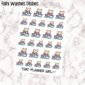 Felix does the Dishes