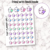 Friend with Pencil - Doodle Character Planner Sticker - Cute stickers to mark study time / class /uni /school / college etc - Planner Stickers - Hand Drawn Doodles!