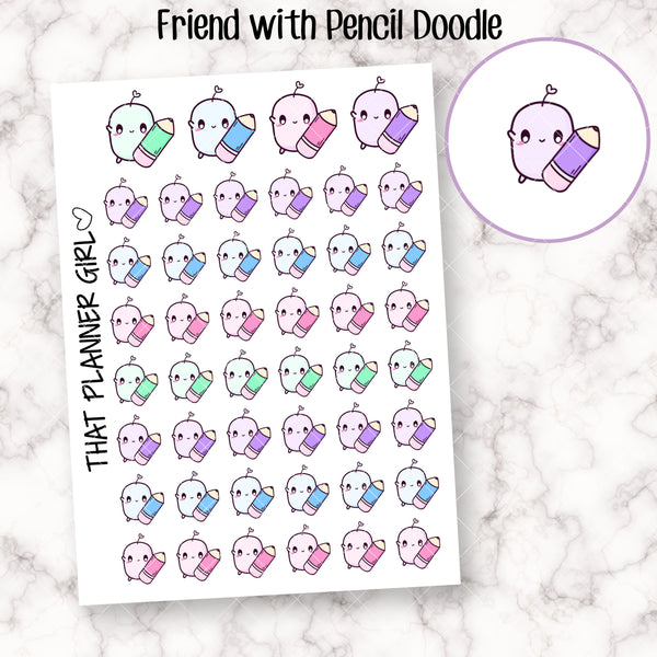Friend with Pencil Stickers