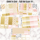 Gilded in Gold - VERTICAL weekly kit - Individual sheets or full kit!! Erin Condren Style Planner Stickers