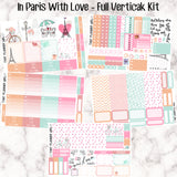 In Paris With Love - VERTICAL weekly kit - Individual sheets or full kit!! Erin Condren Style Planner Stickers