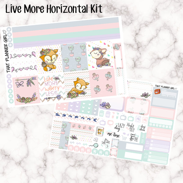 Live More - HORIZONTAL kit - Erin Condren Planner Stickers - full boxes, 1/2 boxes, washi, icons, weekend banner + more