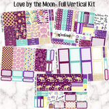 Love By The Moon - VERTICAL weekly kit - Individual sheets or full kit!! Erin Condren Style Planner Stickers