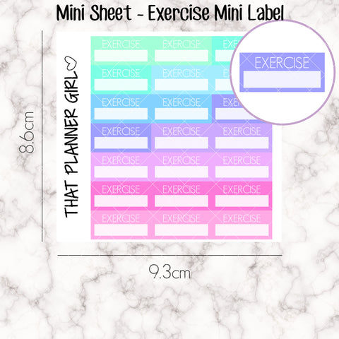 MINI SHEET MONDAY - Mini EXERCISE Label Strip