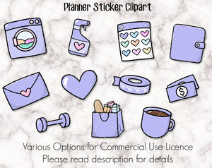 Planner Icon Clipart Set - Commercial Use Licence options available - 11 various icons