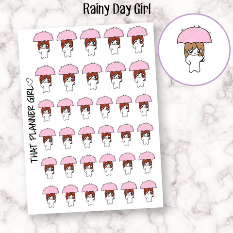 Rainy Day - Girl Doodle - 5 Hair Colours Available