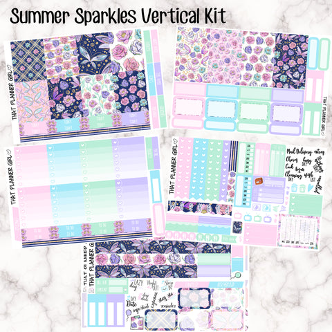 Summer Sparkles - VERTICAL weekly kit - Erin Condren Planner Stickers - inc. full boxes, 1/2 boxes, checklists etc! Optional Date Covers