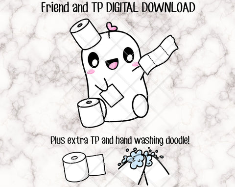 DIGITAL DOWNLOAD - Friend Loves Toilet Paper - perfect for making your own stickers or die cut! Personal Use Only.
