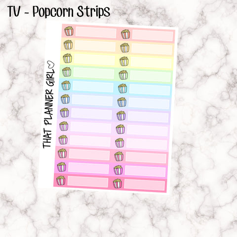 TV / Popcorn Strips - Perfect for marking going to the movies or watching tv / films - Hand Drawn Original Artwork