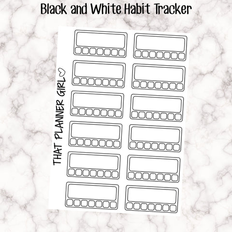 Doodle Style Black and White Habit Trackers
