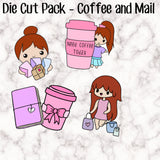 Die Cut Pack - Coffee and Shopping Girls - One of each - Each measures approx 6-7cm - Choose your hair and skin colour!!