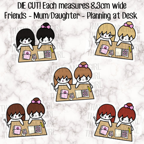 Friends Planning at Desk Die Cut - Printed on 220gsm CARDSTOCK - perfect accessory for your planner, travellers notebook, bookmark etc