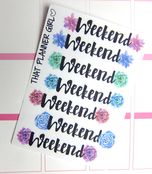 Succulent Weekend Banner Stickers