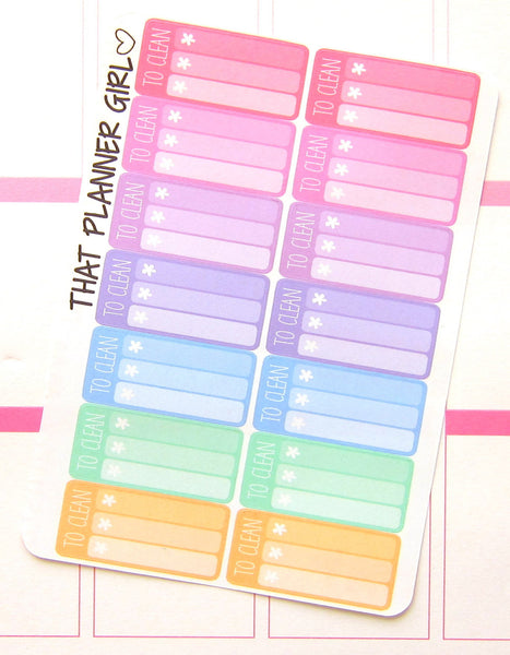 To Clean Planner Sticker Mini Check Lists
