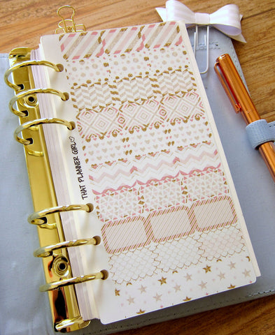 Gilded in Gold - PERSONAL SIZE - MINI half boxes - To fit Personal Size Kikki K or Kate Spade Planner - - Please read description!