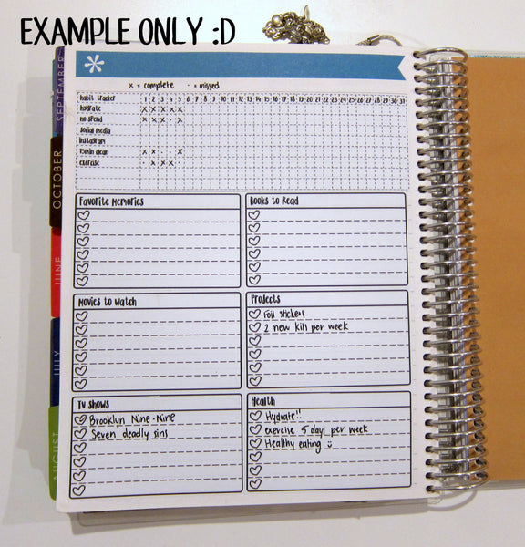 Large Note Page check lists - Bullet Journal Style! Space to write (or use the included headers) headers in each box! stack in the Note Page