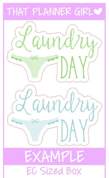 Laundry Day Stickers - Glitter 'word' laundry stickers - perfect for any planner for marking laundry / washing / folding clothes etc