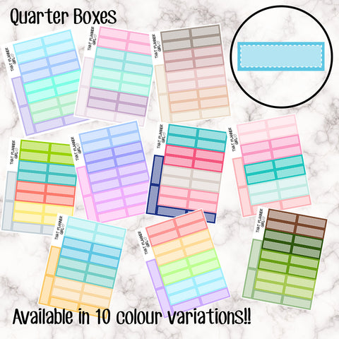 Quarter Boxes - 12 Colour Variations Available!! - 20 stickers per sheet! - use for appointments, meetings, events etc - Premium Matte