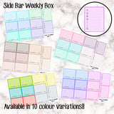 Side Bar Weekly Trackers / Full Weekly Box - 10 Colour Variations Available!! - 11 stickers per sheet! - EC vertical side bar- Premium Matte