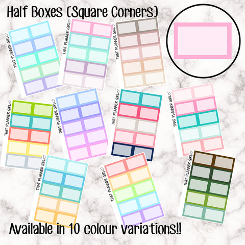 Half Boxes (square corners) Stickers