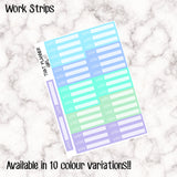 Work Strips - 12 Colour Variations Available!! - 36 stickers per sheet! - use to record or schedule daily work/job times - Premium Matte