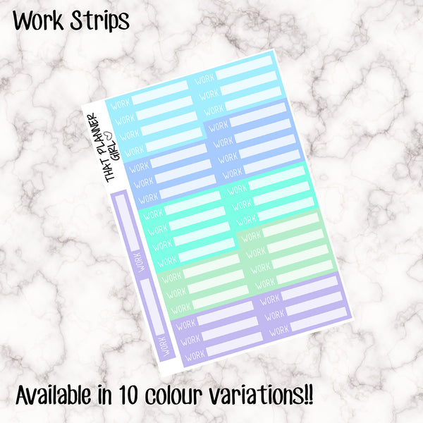 Work Strips - 10 Colour Variations Available!! - 36 stickers per sheet! - use to record or schedule daily work / job times - Premium Matte