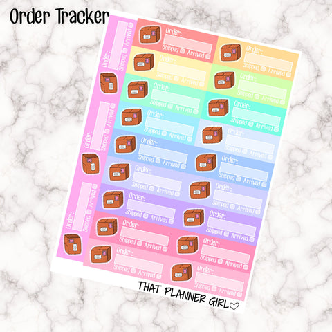 Order Tracker Stickers - Hand Drawn Original Art - 21 stickers - Fit in the Erin Condren Vertical / Kikki K / Filofax Etc! - Shipped Orders