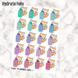 Felix Hydrate Sticker- Perfect for tracking daily water intake with this super cute water bottle and fox!! - Hand Drawn Original Artwork