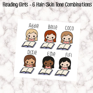 Reading Girls Stickers