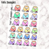 Felix Snuggles / Cuddles / Winter Day Stickers - Perfect for snuggling under a blanket with a book + tea - Hand Drawn Original Artwork