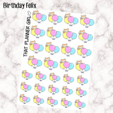 Felix Birthday Balloon Stickers - Perfect for marking birthdays / parties / events etc - Hand Drawn Original Artwork