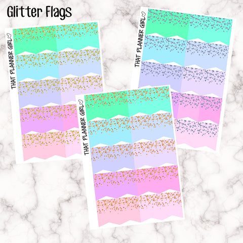 Flags with decorative glitter confetti - Perfect for the Erin Condren Life Vertical or personal planner - Pastel Rainbow - 20 Stickers