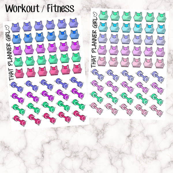 Work Out Crop Top + Weights Stickers - Perfect for the Erin Condren EC + Plum Paper Planner PPP - Decorate + mark your exercise fitness days