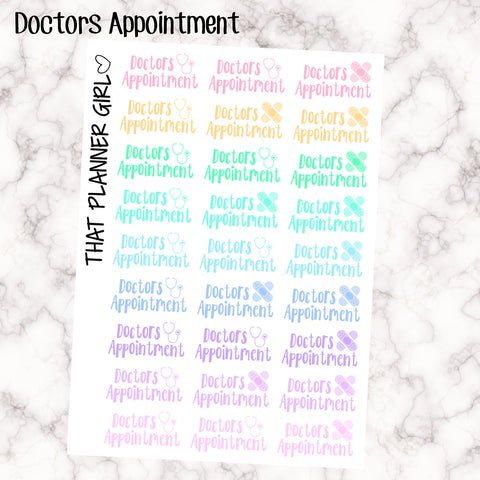 Doctors Appointment Word Labels - Perfect for the Erin Condren Life Vertical or personal planner - Pastel Rainbow - 27 Stickers