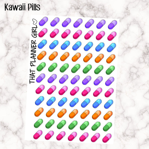 Kawaii Rainbow Pills / medication Icons - Multi Colour - Erin Condren Vertical or Horizontal Planner Stickers