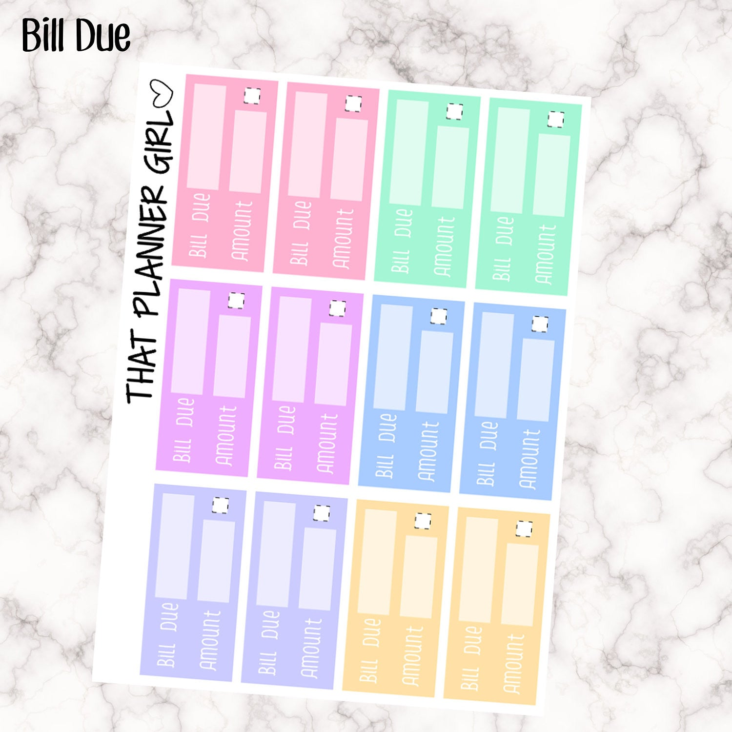 Bill Due Stickers