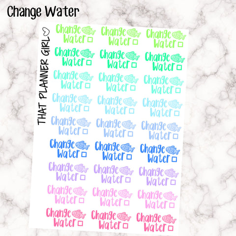 Change Water Kawaii - Pet Fish - Perfect for the Erin Condren Life Vertical or personal planner - Pastel Rainbow - 27 Stickers