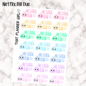 Netflix Bill Due Kawaii Stickers