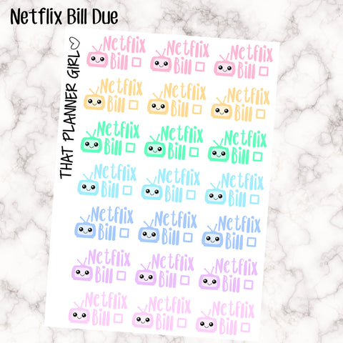 Netflix Bill Due Kawaii - Perfect for the Erin Condren Life Vertical or personal planner - Pastel Rainbow - 21 Stickers