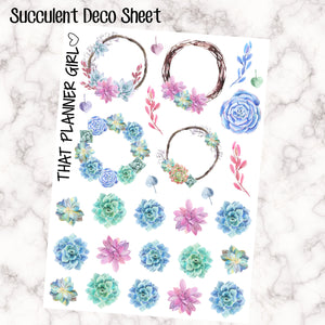 Succulent / Cactus Watercolor Decorative Clipart Stickers