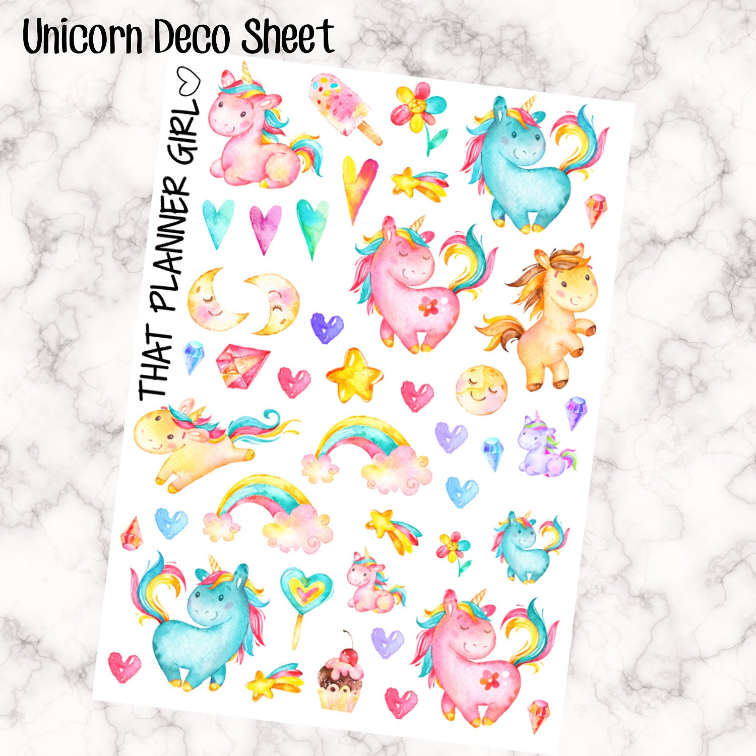 Unicorn Watercolor Decorative Clipart Stickers