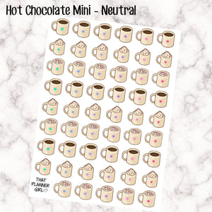 Hot Chocolate Mini cups Neutral - Perfect for decorating your Erin Condren Vertical Planner EC or Plum Paper Planner PPP - Multi coloured