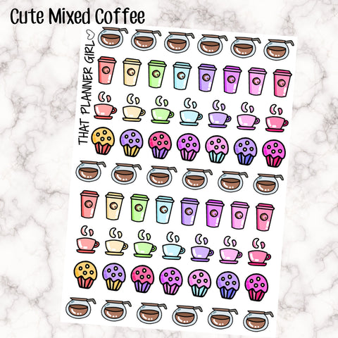 Cute kawaii style mixed coffee sheet - Perfect for decorating your Erin Condren Vertical Planner EC - Rainbow - coffee pot, take away cup