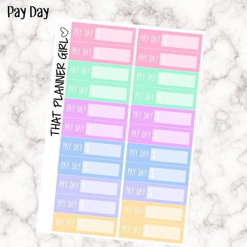 Pay Day Stickers - Track your pay on Pay Day - perfect for the Erin Condren Vertical Planner or other planner - pastel rainbow