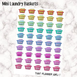 Mini Laundry Basket Stickers - Multi Coloured - Perfect in Erin Condren EC / Plum Paper Planner PPP - pretty / functional - washing basket