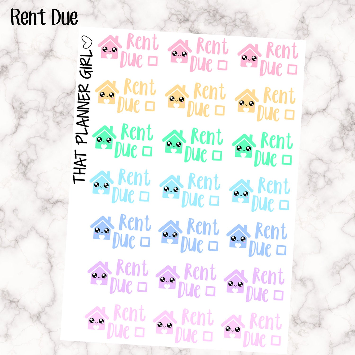 Rent Due Kawaii Stickers