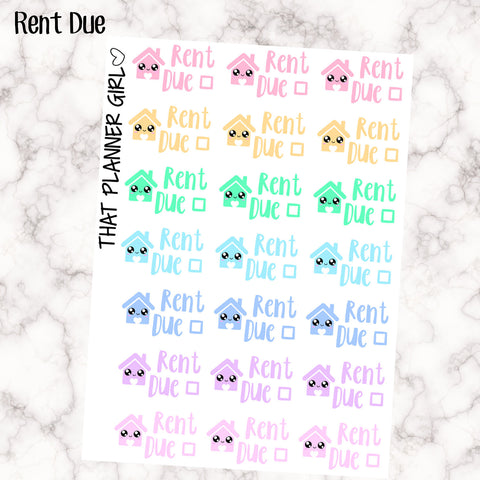 Rent Due Kawaii - Perfect for the Erin Condren Life Vertical or personal planner - Pastel Rainbow - 21 Stickers