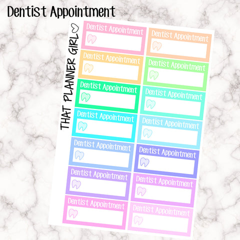 Dentist Appointment Labels - Perfect for the Erin Condren Life Vertical or personal planner - Pastel Rainbow - 14 Stickers
